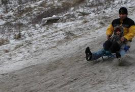 Житомиряни на Малікова відзначили Різдво, спускаючись із гірок на санчатах