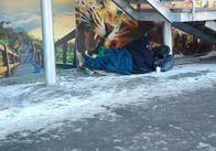 На площі Перемоги, в мінусову температуру, під магазином живе жінка-безхатченко. Фото
