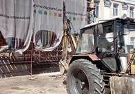 На майдані у Житомирі готують місце для встановлення пам'ятника Героям Небесній Сотні. Фото